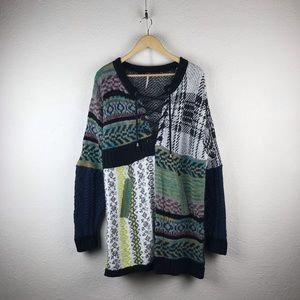 Free People l Oversize Patchwork Plaid Dad Sweater